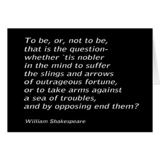 William Shakespeare`s `Hamlet` Card