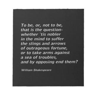 William Shakespeare`s `Hamlet` Notepad