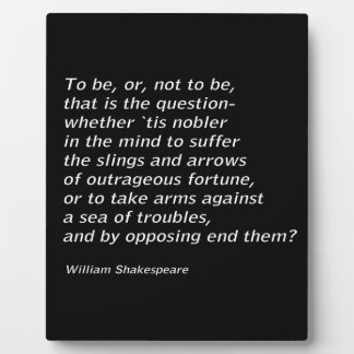 William Shakespeare`s `Hamlet` Plaque