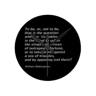 William Shakespeare`s `Hamlet` Round Clock