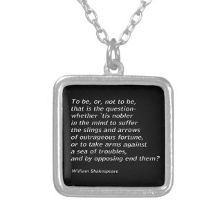 William Shakespeare`s `Hamlet` Silver Plated Necklace