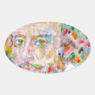 william shakespeare - watercolor portrait.1 oval sticker
