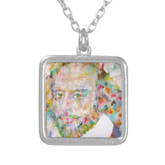 william shakespeare - watercolor portrait.1 silver plated necklace