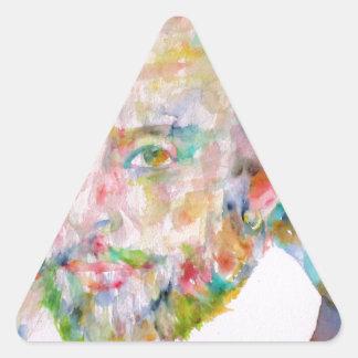 william shakespeare - watercolor portrait.1 triangle sticker
