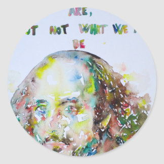 william shakespeare - watercolor portrait.2 classic round sticker