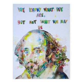 william shakespeare - watercolor portrait.2 postcard