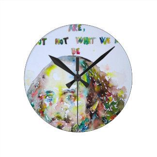 william shakespeare - watercolor portrait.2 round clock