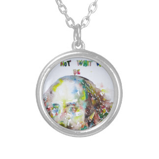 william shakespeare - watercolor portrait.2 silver plated necklace