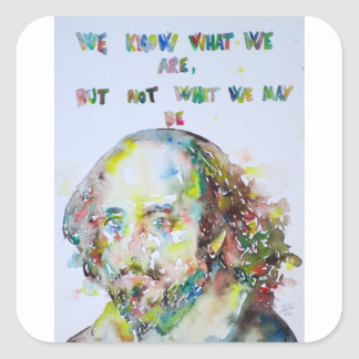 william shakespeare - watercolor portrait.2 square sticker