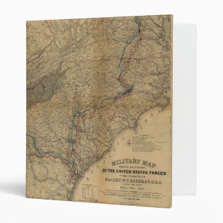 William T. Sherman Marches Military Map 1863 64 65 Vinyl Binder