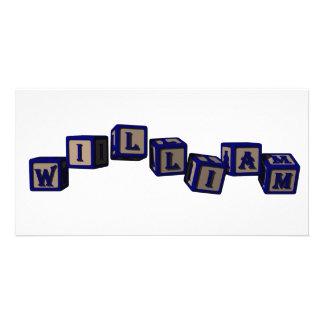 william toy blocks, blue photo greeting card
