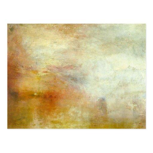 william turner - sun setting over a lake post card