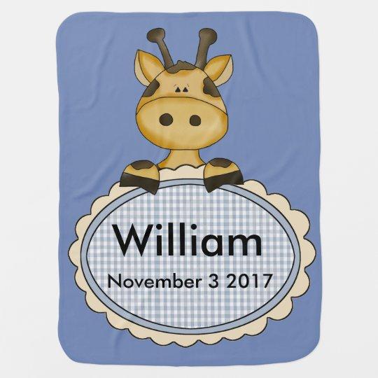 William's Personalized Giraffe Stroller Blanket