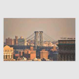 Williamsburg Bridge NYC on a cloudy day Rectangle Sticker