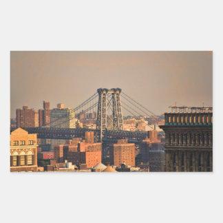 Williamsburg Bridge NYC on a cloudy day Rectangular Sticker