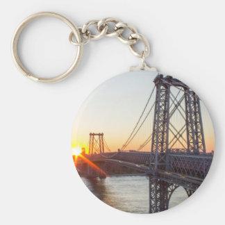 Williamsburg Bridge Sunset Brooklyn NYC Basic Round Button Keychain