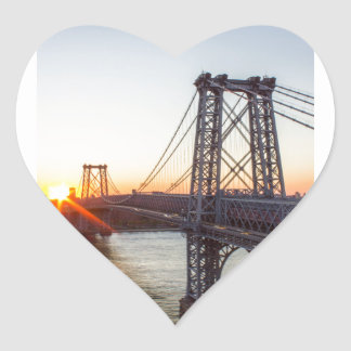 Williamsburg Bridge Sunset Brooklyn NYC Heart Sticker