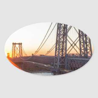 Williamsburg Bridge Sunset Brooklyn NYC Oval Sticker