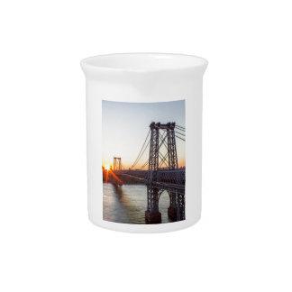Williamsburg Bridge Sunset Brooklyn NYC Pitcher