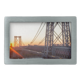 Williamsburg Bridge Sunset Brooklyn NYC Rectangular Belt Buckles