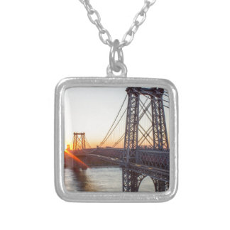 Williamsburg Bridge Sunset Brooklyn NYC Silver Plated Necklace