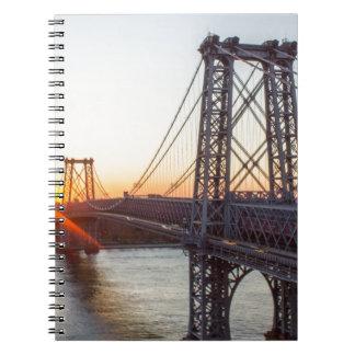 Williamsburg Bridge Sunset Brooklyn NYC Spiral Notebooks