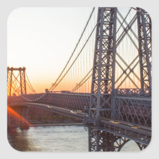 Williamsburg Bridge Sunset Brooklyn NYC Square Sticker