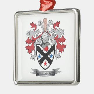 Williamson Family Crest Coat of Arms Silver-Colored Square Ornament