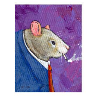 Willie the Rat - fun businessman smoking painting Postcard