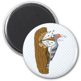 Willie Woodpecker 2 Inch Round Magnet