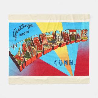 Willimantic Connecticut CT Vintage Travel Souvenir Fleece Blanket