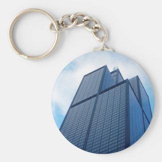 willis tower basic round button keychain