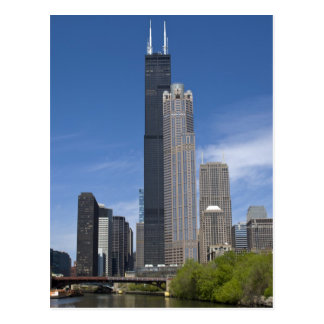Willis Tower (previously the Sears Tower) looms Postcard