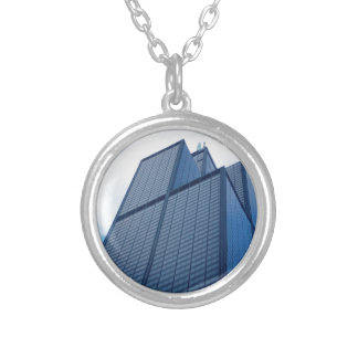 willis tower silver plated necklace