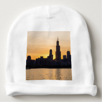 Willis Tower Sunset Sihouette Baby Beanie