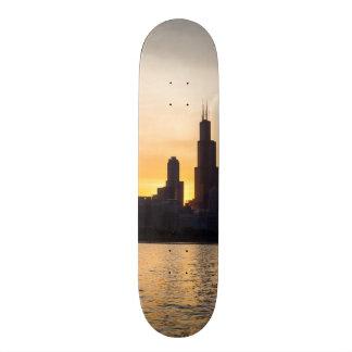 Willis Tower Sunset Sihouette Skate Board