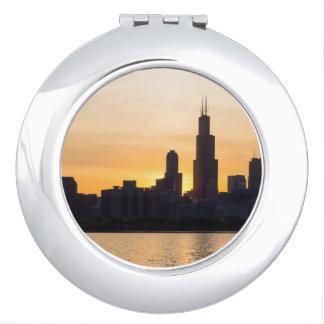 Willis Tower Sunset Sihouette Vanity Mirror