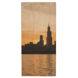 Willis Tower Sunset Sihouette Wood USB 3.0 Flash Drive