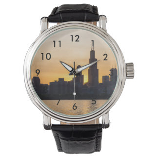 Willis Tower Sunset Sihouette Wrist Watches