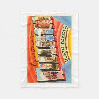 Williston North Dakota ND Vintage Travel Souvenir Fleece Blanket
