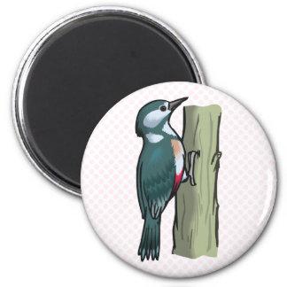 Willma Woodpecker 2 Inch Round Magnet