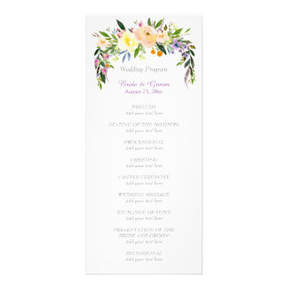 Willow and Floral Bouquet Wedding Program Rack Card Template