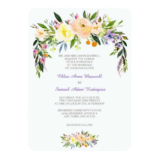 Willow and Floral Formal Wedding Invitation