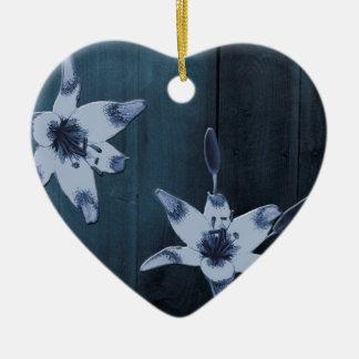Willow Blue Flower Ceramic Heart Ornament
