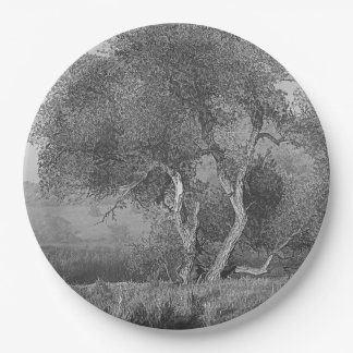 WILLOW IN MIST PAPER PLATE