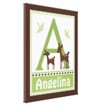 Willow Organic Deer Canvas Letter Name Print 16x20 Stretched Canvas Prints