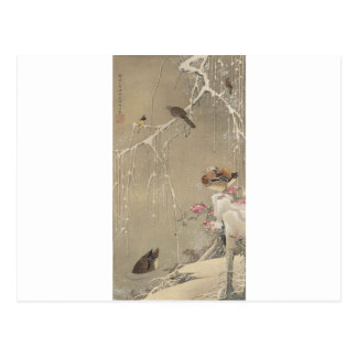 Willow Tree and Mandarin Ducks in the Snow by Postcard