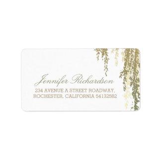 willow tree wedding label