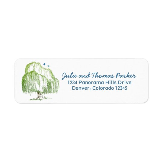 Willow Tree Wedding Return Address Labels