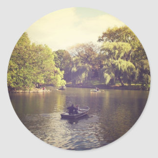 Willow Trees and The Lake, Central Park, NYC Round Sticker